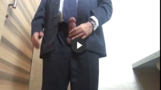 Daddy in suit wanking thick dick in office