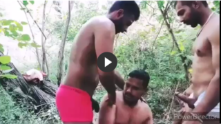 Gay public threesome of two desi tops with one bottom