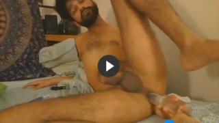 Horny desi boy fucking himself with dildo